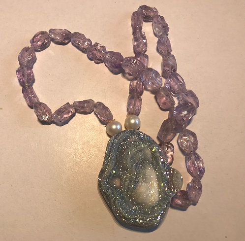 Amethyst Necklace with Snowy Pink Druzy