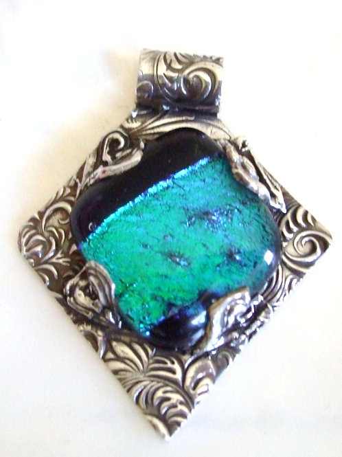Sterling Silver Pendant with Dichroic Inlay