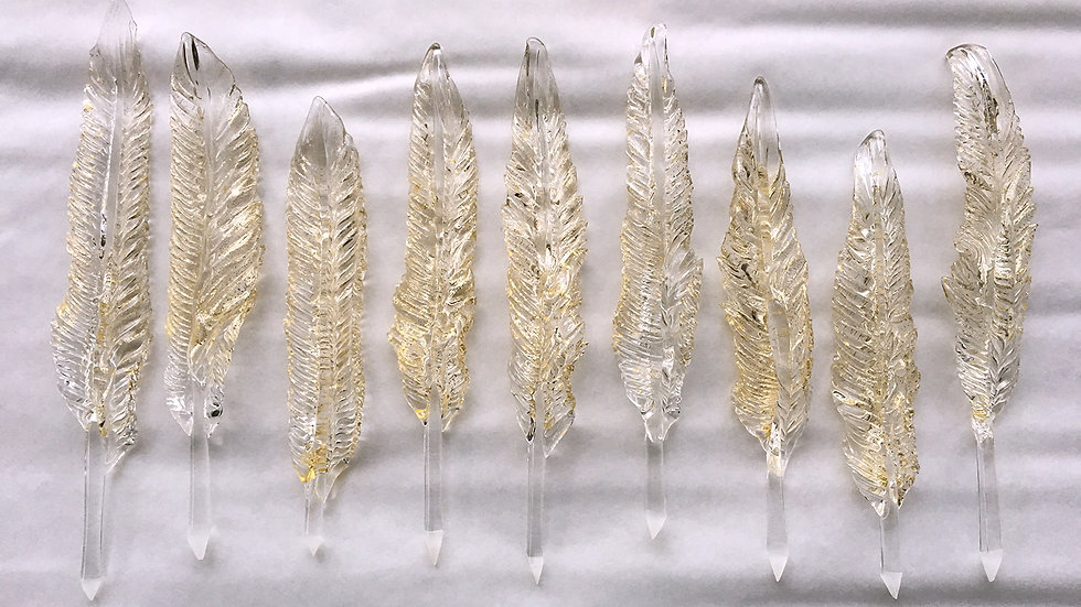Feather - Clear with 24k Gold