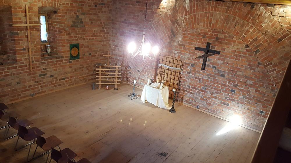 Die Kraft zum Wiederaufbau- der Kirchenturm von innen, Kirche Allenburg
