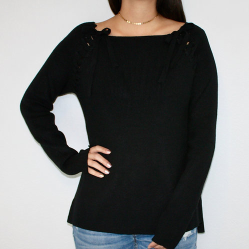 Sultry Lace-up Sweater