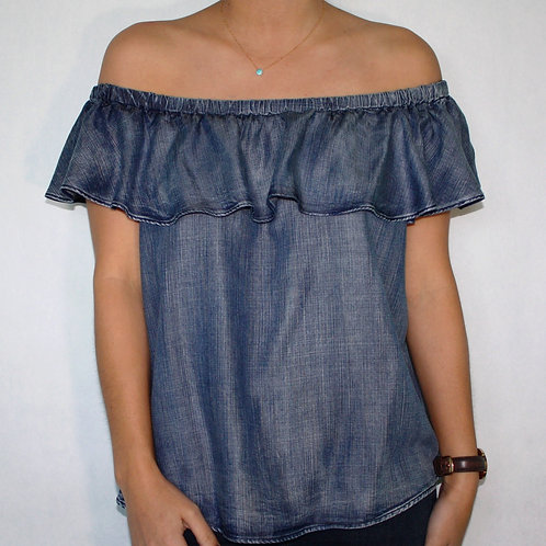 Shoulder Shaking Blouse (Dk. Wash)