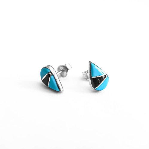 Navajo Turquoise+Onyx Teardrop Studs