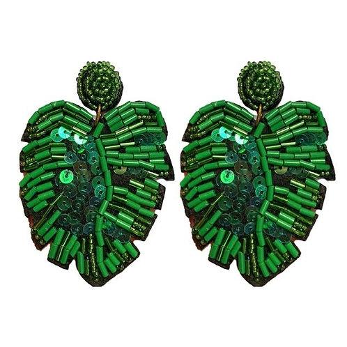 Green Monstera Leaf Earrings