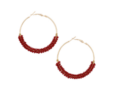 Crimson Beaded Hoops
