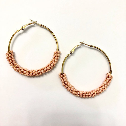 Blush Beaded Hoops