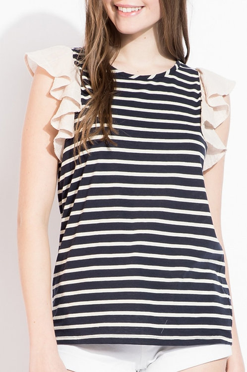 Navy +White Striped Top