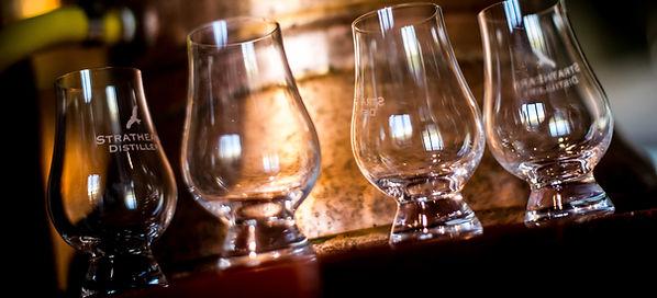 Whiskey Tasting glasses at Strathearn Distillery