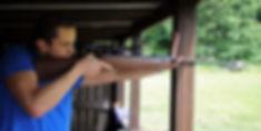 Air rifle precision shooting at rifle range