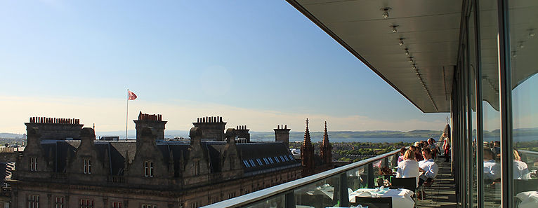 The Cocktail Bar at Harvey Nichols Edinburgh with views out to Edinburgh and St Andrews Square