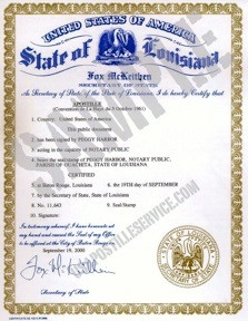 Sample Picture of a Louisiana Apostille Certificate