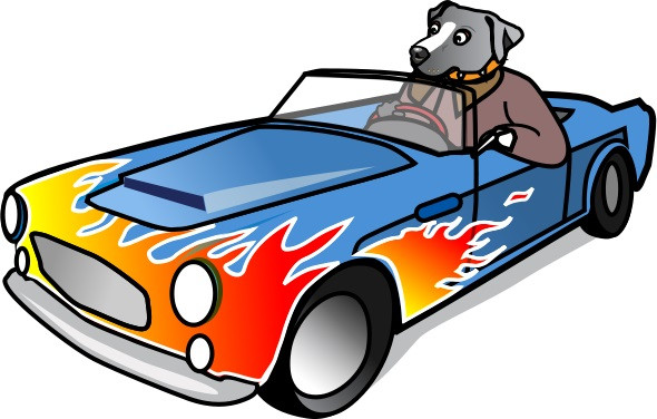 Caricature of Dog driving a car