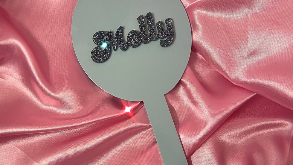 Personalised Bubble Font Handheld Mirror