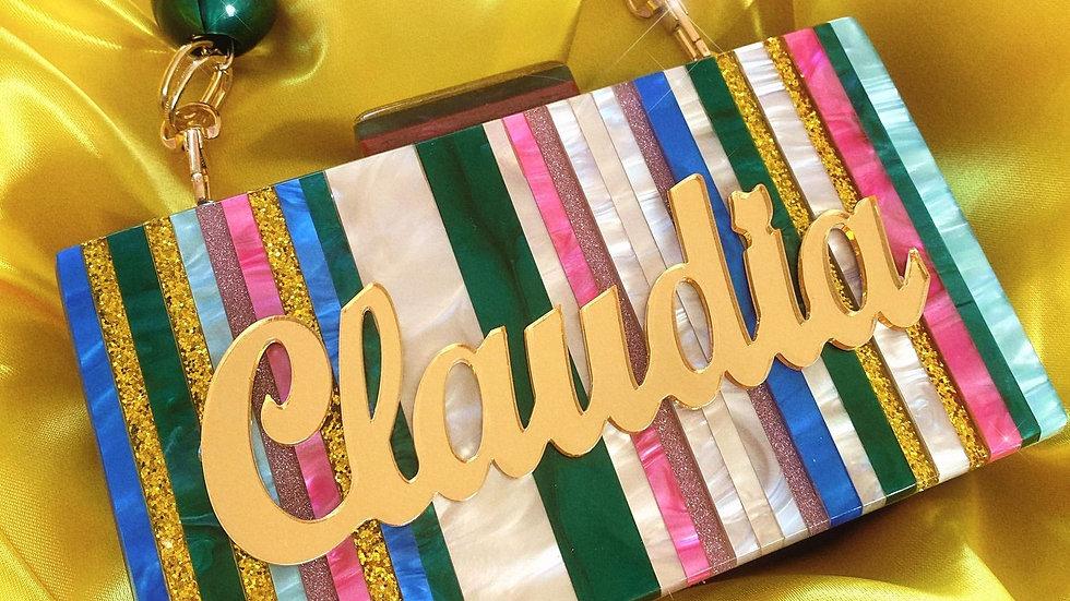Personalised Glitter x Marble Stripe Bag