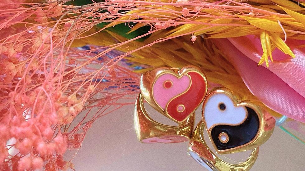 The Yin & Yang Heart Rings