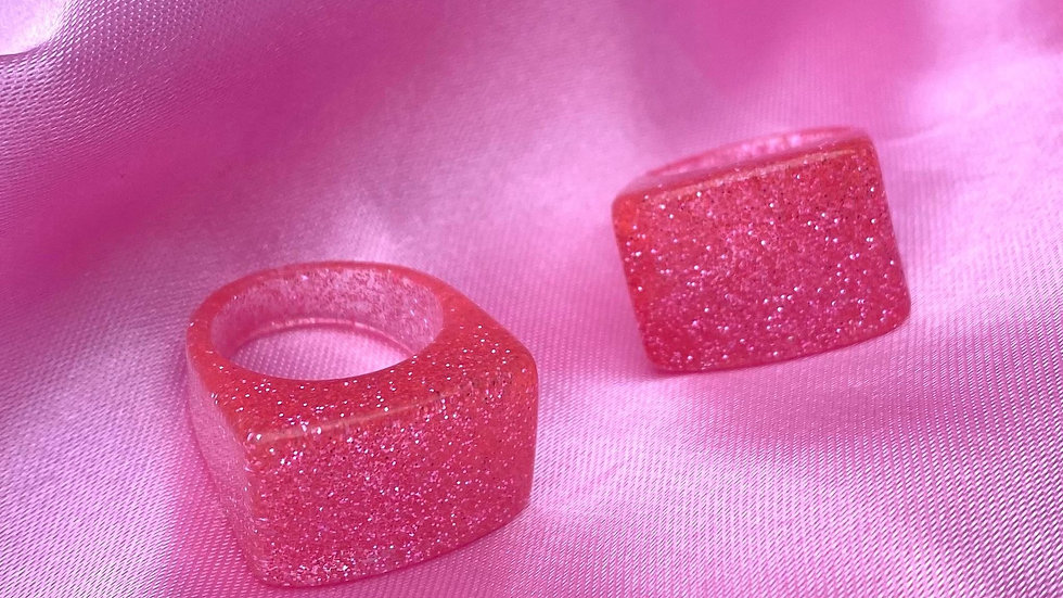 Pink Glitter Ring