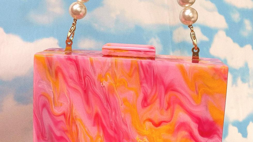 Personalised Orange/Pink Marble Bag