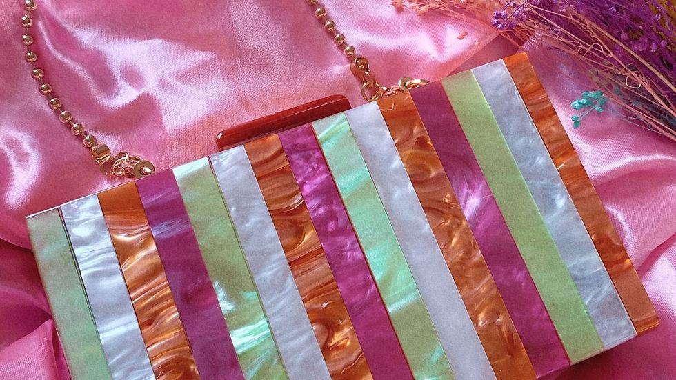 Personalised Green White Orange & Pink Stripe Marble Bag