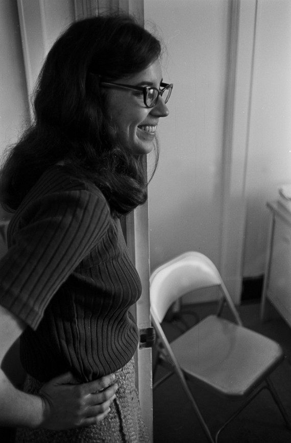 Gail Falk at the Southern Courier office in the Frank Leu Building in Montgomery, Alabama. Falk was a reporter for the Courier from 1965 to 1967, and she served as the executive editor from October 1965 to January 1966. (1965-1967 circa)