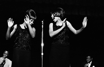 Gladys Horton and Katherine Anderson of the Marvelettes performing at the Montgomery City Auditorium, February 21, 1967.