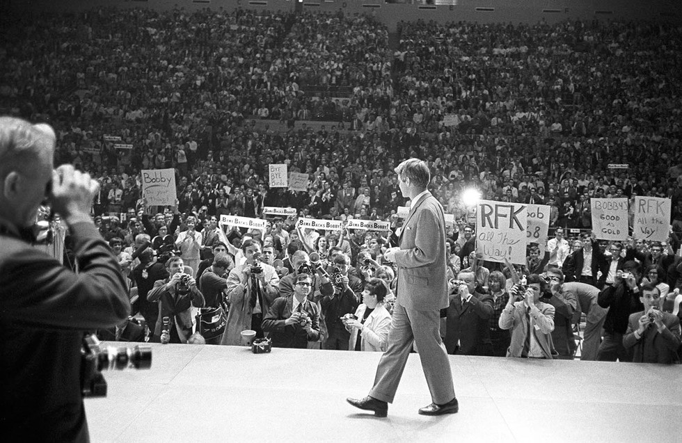 Robert F. Kennedy on stage during a symposium at the University of Alabama, March 1968.