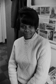 Sarah Heggie at the Southern Courier office in the Frank Leu Building in Montgomery, Alabama. Heggie was a reporter for the Courier from September 1967 to January 1968. (1967-1968 circa)
