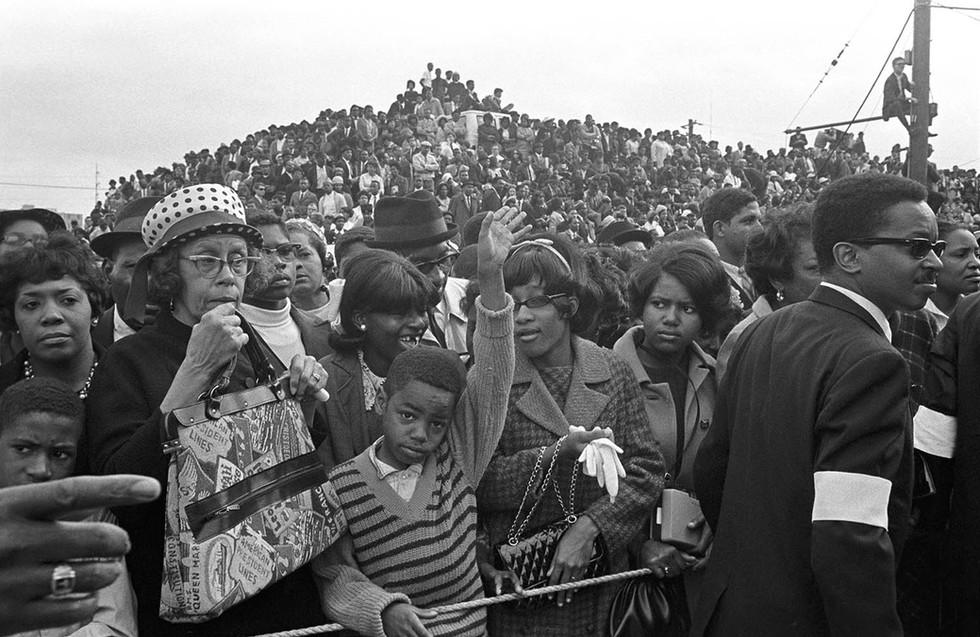 Crowd at Ebenezer Baptist Church during Martin Luther King Jr.'s funeral in Atlanta, April 9, 1968.