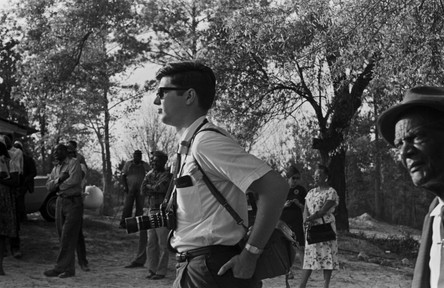 Jim Peppler at a political rally in Eufaula, Alabama. Peppler was the principal photographer and photo editor for the Southern Courier from July 1965 to mid-1968. This photograph may have been taken by Gloria Bradford, darkroom technician for the Courier. (1966 April)