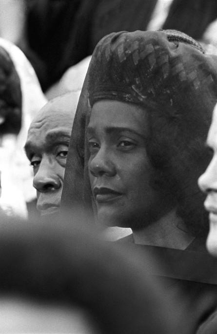 Coretta Scott King with other mourners at her husband's funeral in Atlanta, 9 April 1968.