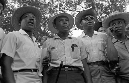 """Martin Luther King Jr., James Meredith, and Floyd McKissick during the """"March Against Fear,"""" through Mississippi, June 1966."""