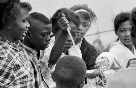 Students serving water at a meeting held during a boycott of the Greenville Training School, 1965.