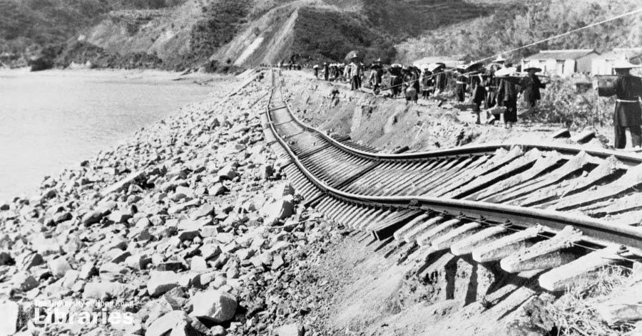 Collapsed train rails