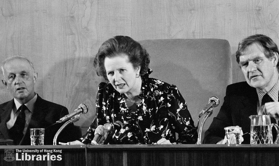 Press conference - Mrs Thatcher with Governor Youde