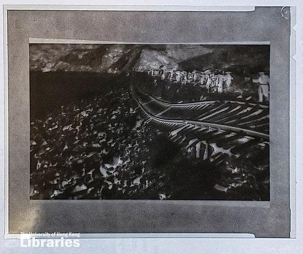 Collapsed train rails negative