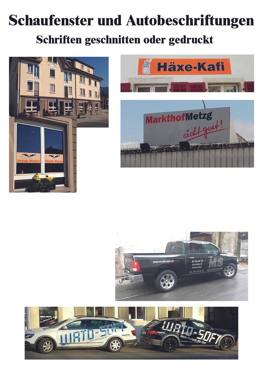 schaufenster und autobeschreibung