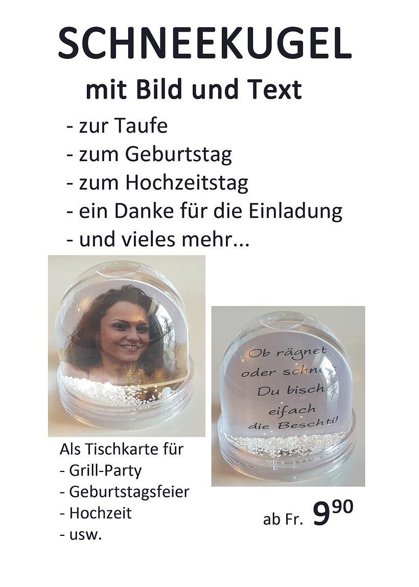 schneekugel mit bild und text