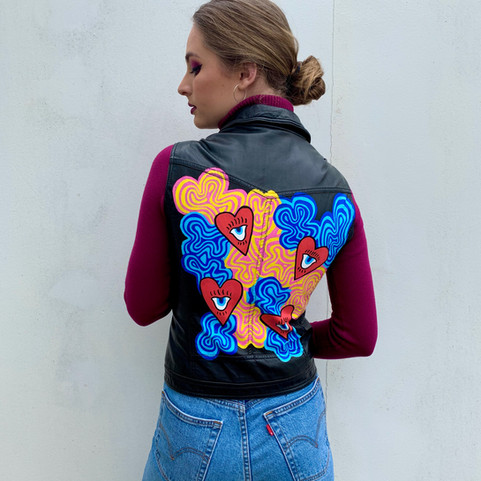 Trippy Heart Leather Vest