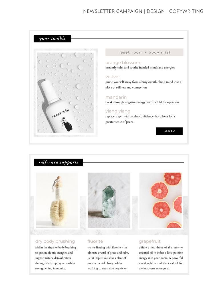 Newsletter Mock Up Body Brush Fluorite Point Face Mist Grapefruit