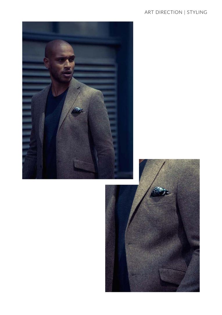 Tweed Jacket Green Pocket Square close up Man