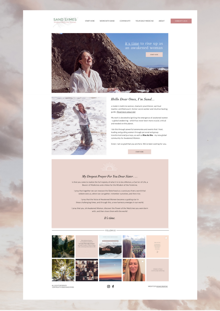 Sand Symes Website Pink Clouds Blue Sky Woman laughing