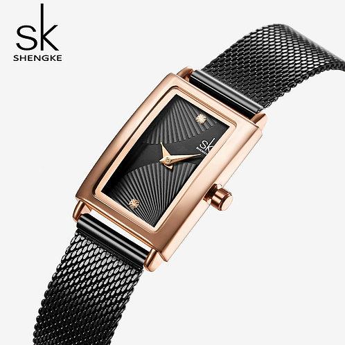 Montre Dame SK Rectangulaire Quartz Silver/Gold Rose,Black/ Chromée
