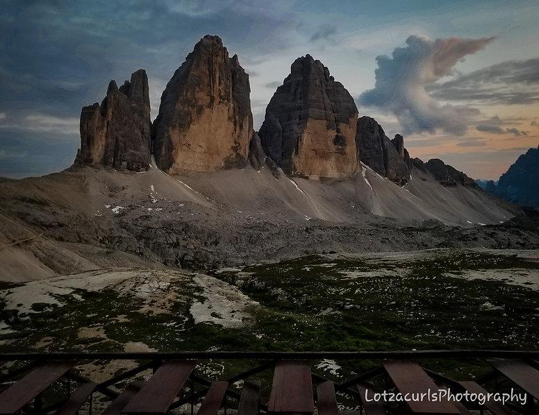 Tre Cime di Lavaredo sunset Dolomites Italy