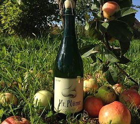 A bottle of Mr. Plūme keeved, naturally sparkling apple cider