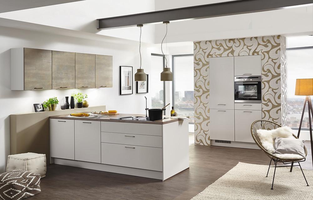 Die #Faszinierende #Küche mit der #Front #Lacklaminat, #Seidengrau #supermatt #Touch 338 mit #Oriental