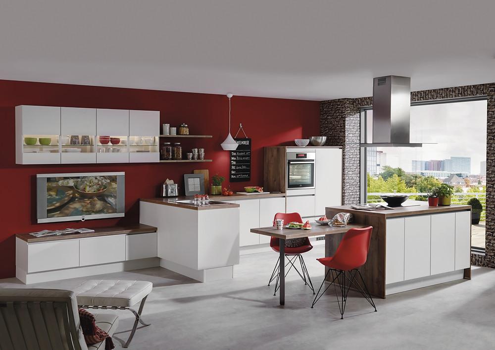 Eine #Stillvolle  #Wohnküche in Weiß   #Laser 416.