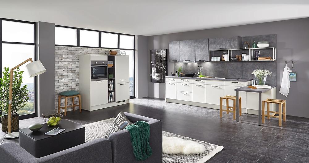 Die #Traumküche in #Lacklaminat, #Savanne #supermatt #Touch 335 und den #Glamourösen #look #Caledonia.