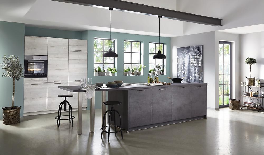 Eine moderne Küche Beton schiefergrau Riva 889.