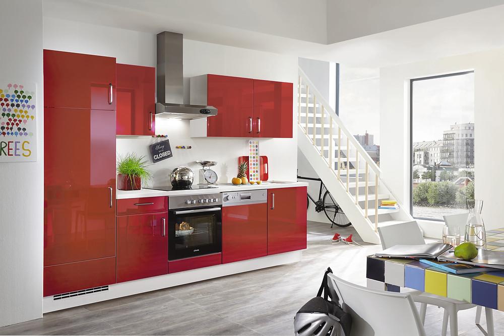 Eine #UltraHochglanz #Küchenzeile in Lacklaminat Rot Hochglanz #Flash 501.