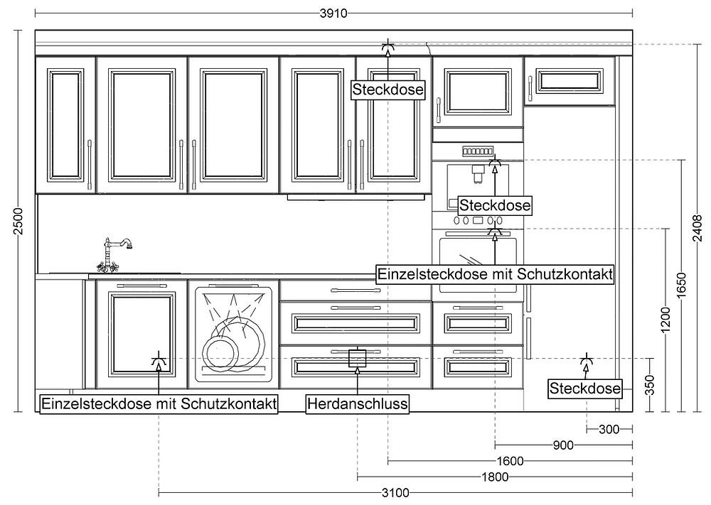 So sieht ein #Installationsplan für die Küche aus, einige unserer Kunden brauchen diesen Plan für die neuen Installationen