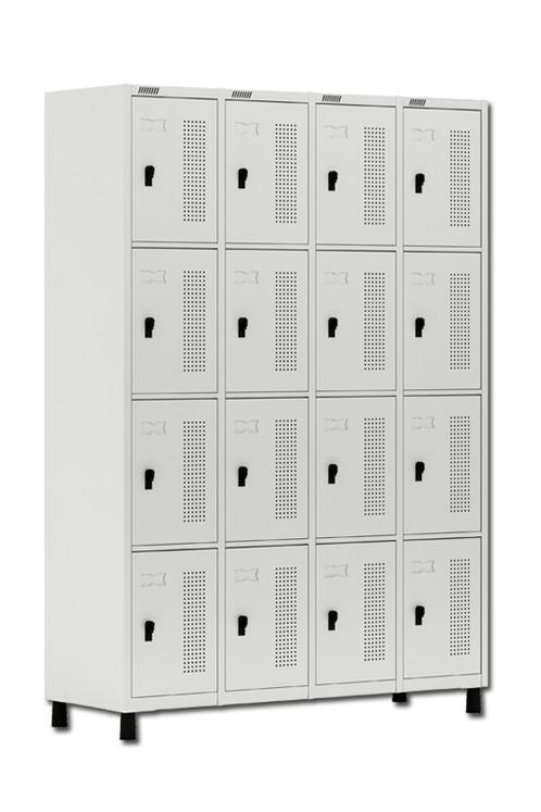 Adesivo Decorativo Portas De Vidro ~ Roupeiro de Aço 16 portas pequenas cadeado Cinza